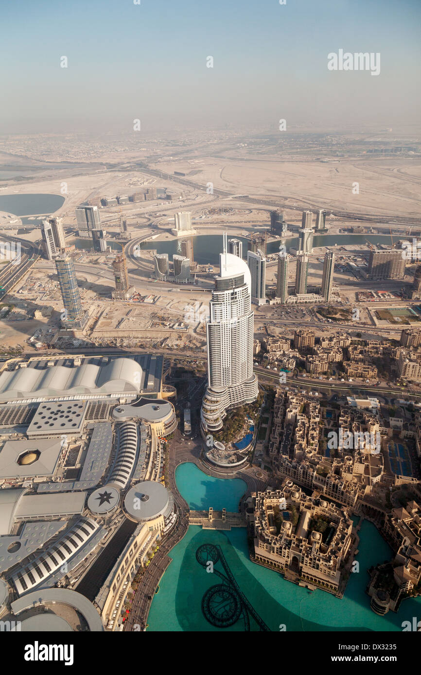 The Address Downtown 5 star hotel, Dubai, seen from the observation deck at the top of the Burj Khalifa, Dubai UAE - Stock Image