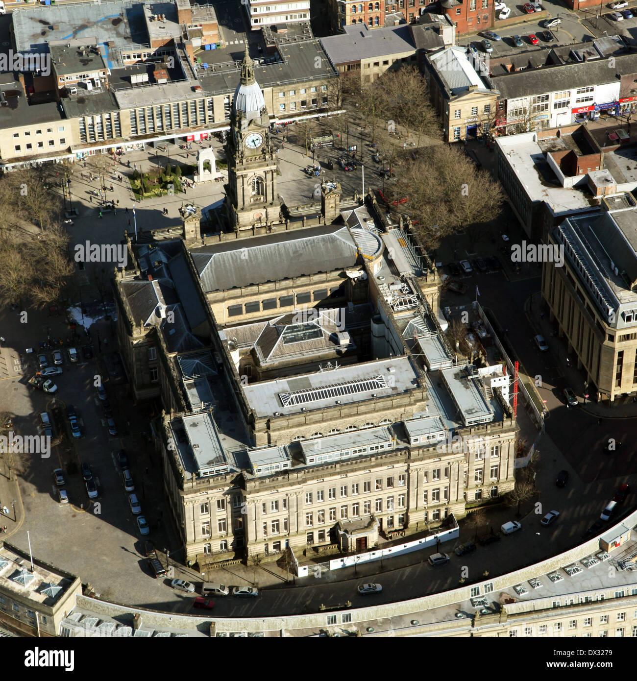 aerial view of Bolton Town Hall - Stock Image