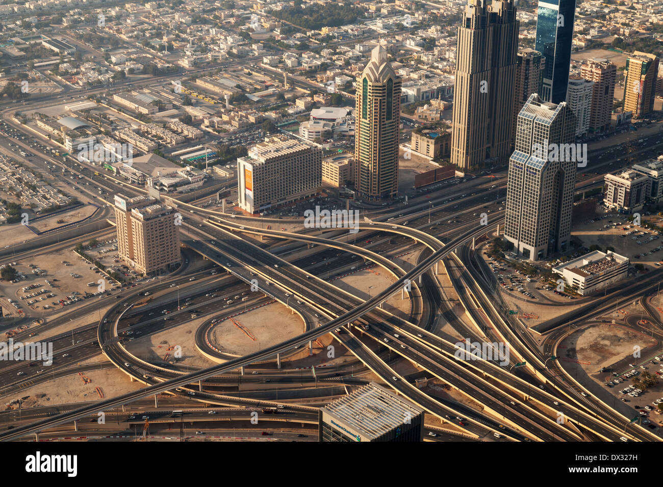 Dubai road transport system -  large interchange on the Sheik Zayed Road, Dubai city, seen from the top of the Burj Khalifa, UAE - Stock Image