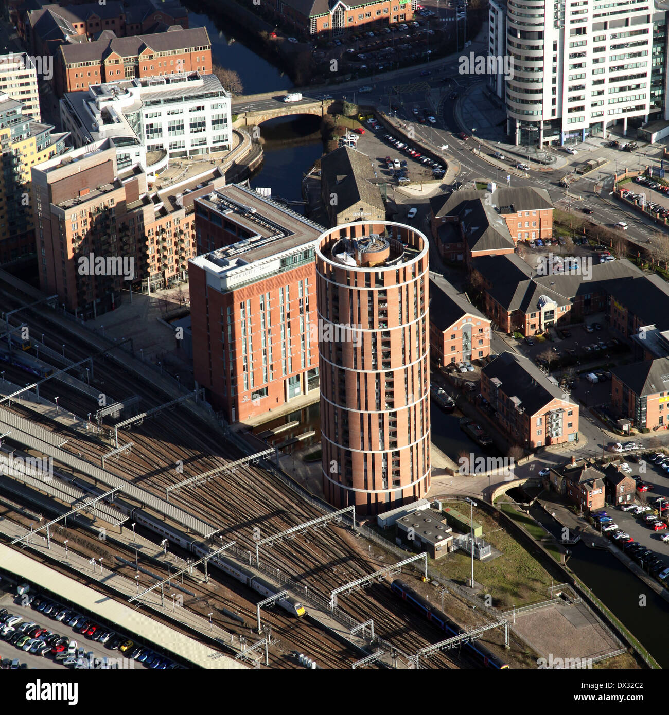 aerial view of Candle House Apartments in Leeds - Stock Image