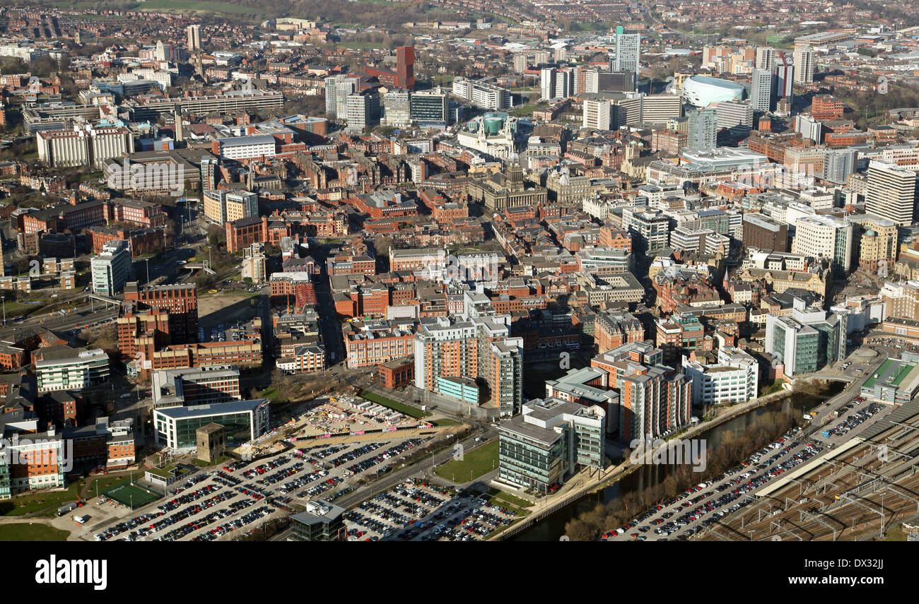 aerial view of the Leeds city centre skyline - Stock Image