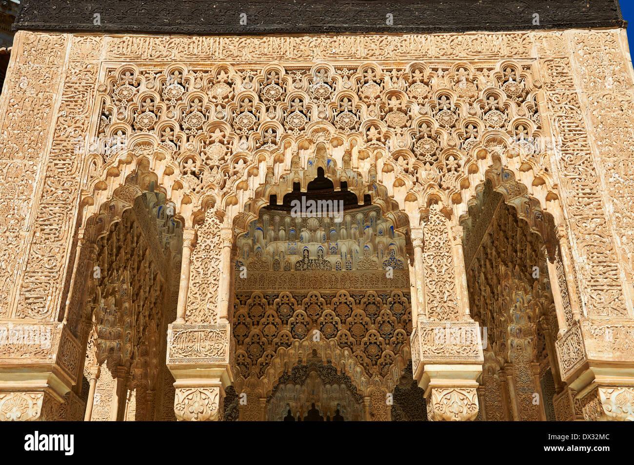 arabesque moorish architecture of the patio de los leones court of