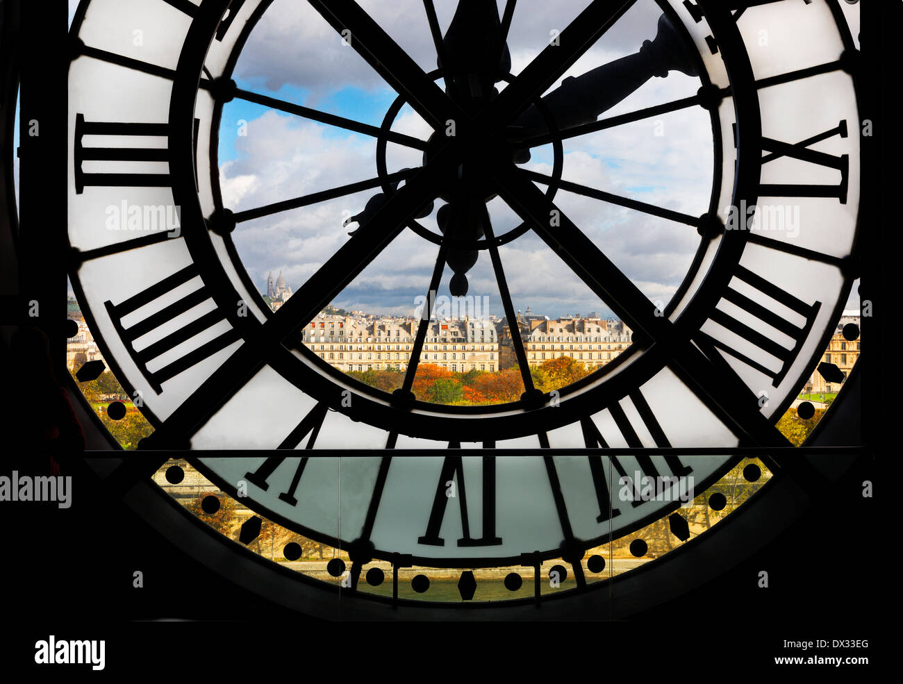 View through giant clock in Musee d' Orsay, Paris, France - Stock Image