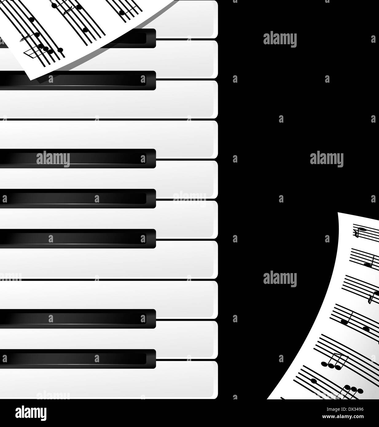 abstract black and white piano keys and note - Stock Image