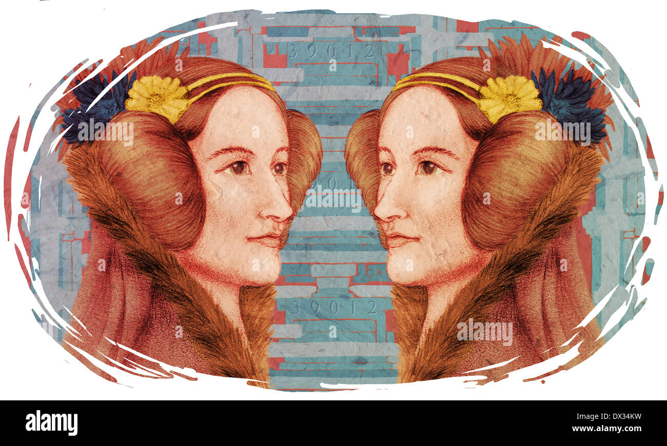 Editorial Illustration of Ada Lovelace against a background of the Difference Engine. - Stock Image