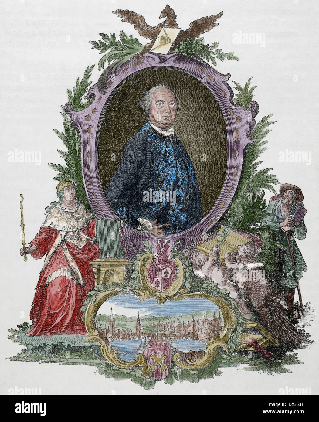 Heinrich Christopher Liber (1707-1788). German political. Engraving Universal History, 1885. Colored. - Stock Image