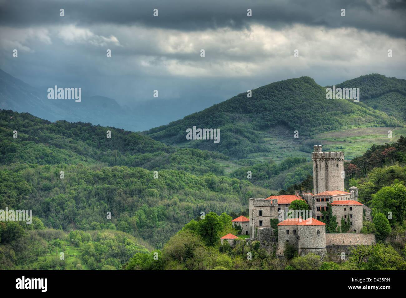 Medieval castli Rihemberk in Branik, Slovenia - Stock Image