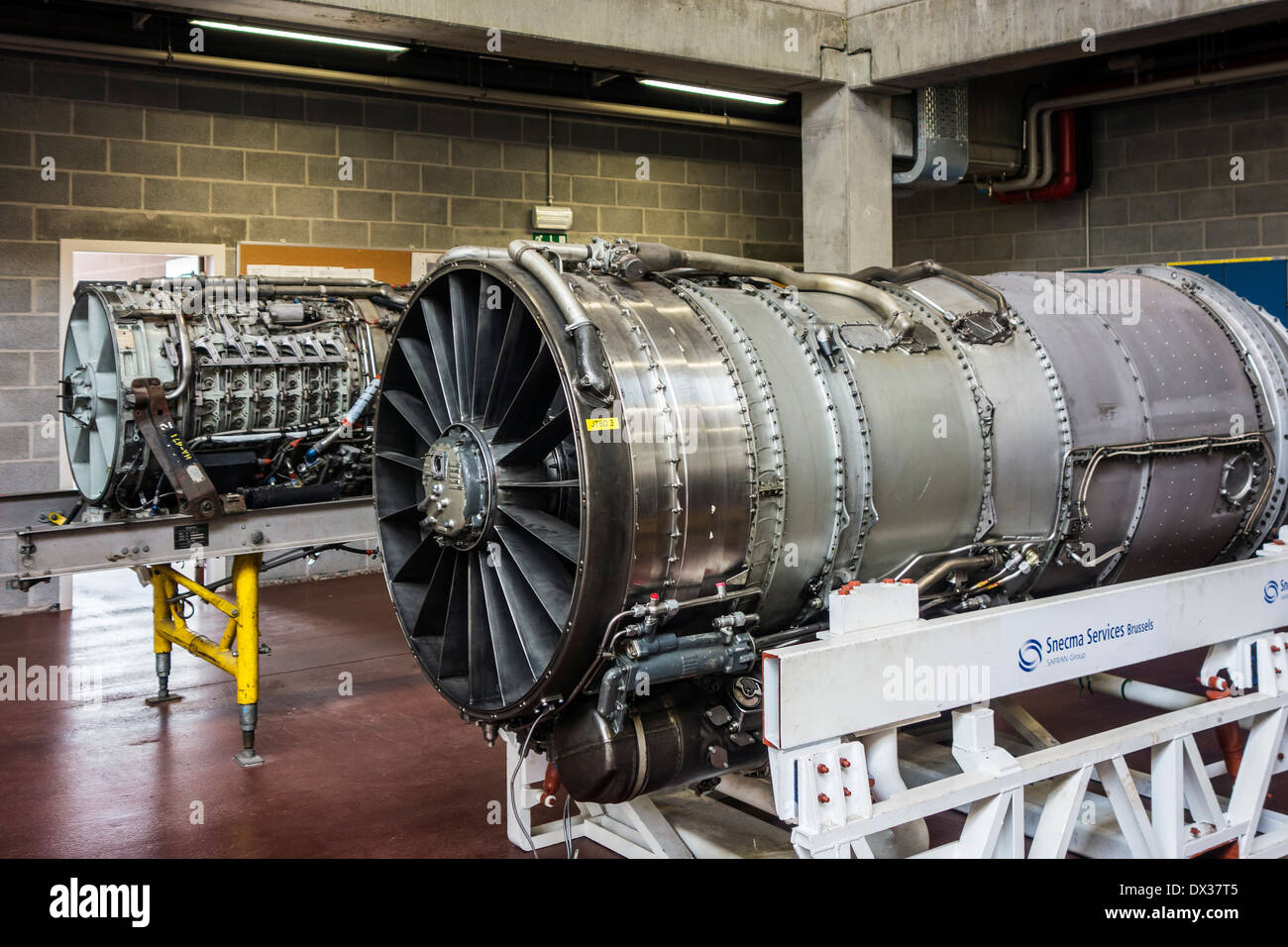 Jet engines for teaching purposes in workshop of the VLOC / Flemish aviation training center in Ostend, Belgium - Stock Image