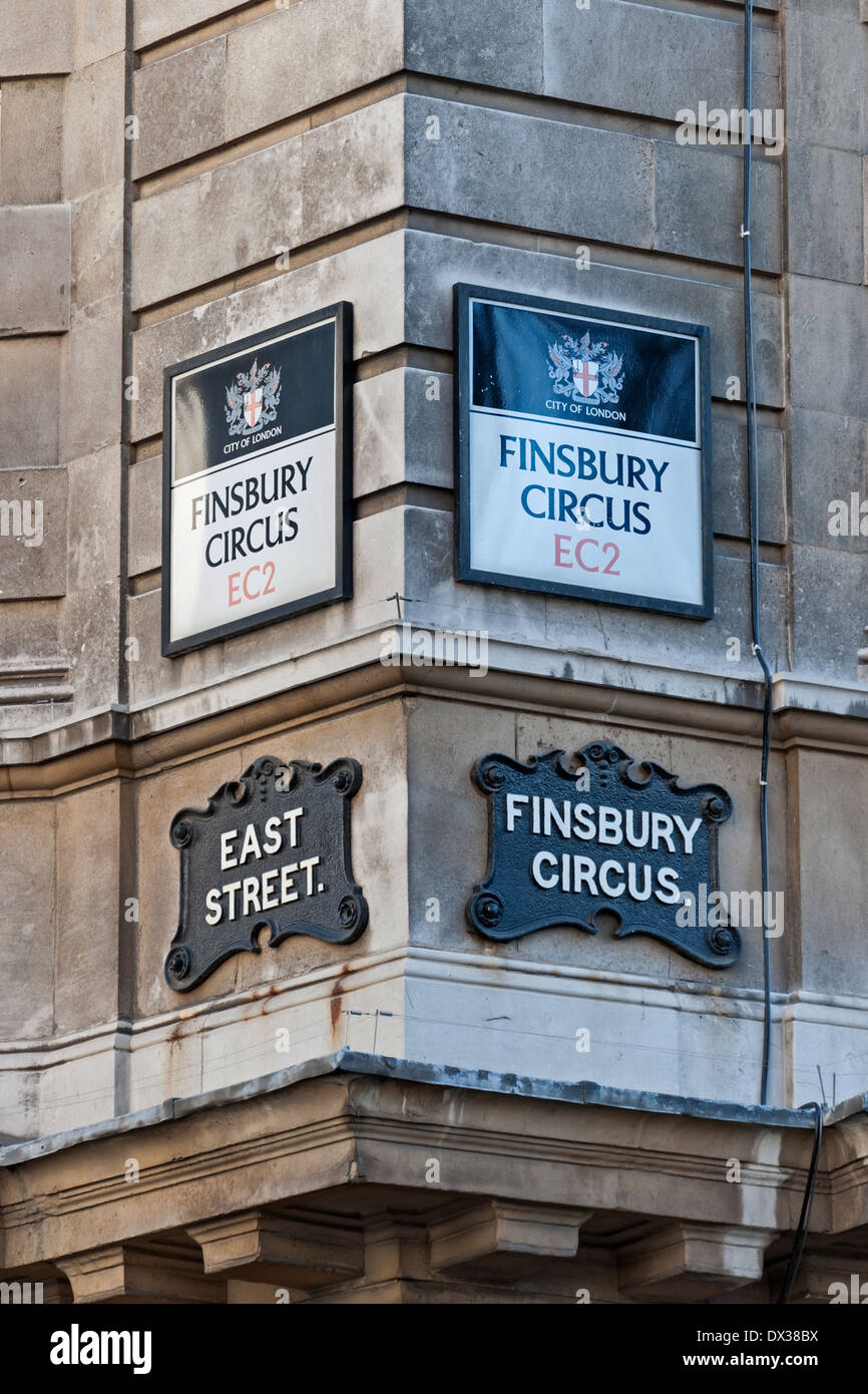 Finsbury Circus Street Signs Old and New,City of London EC2 UK. - Stock Image