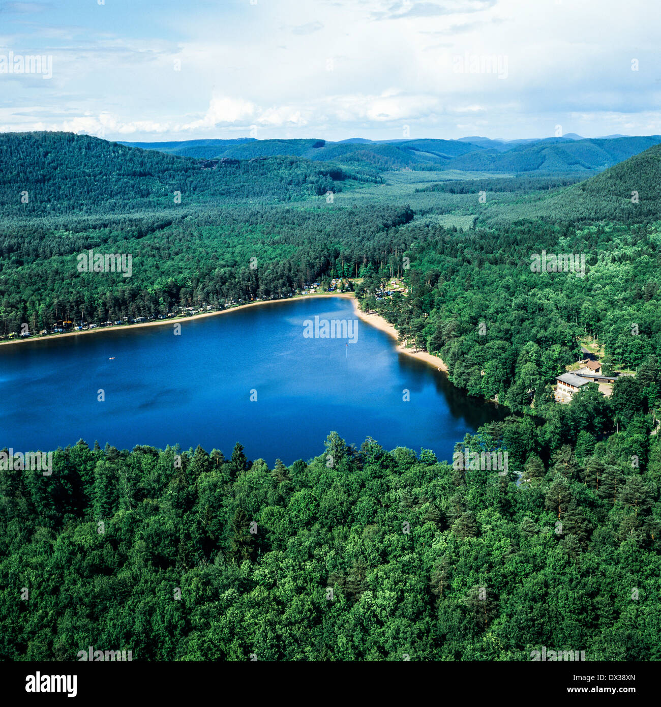 Aerial of Hanau lake in Vosges mountains Moselle Lorraine France - Stock Image