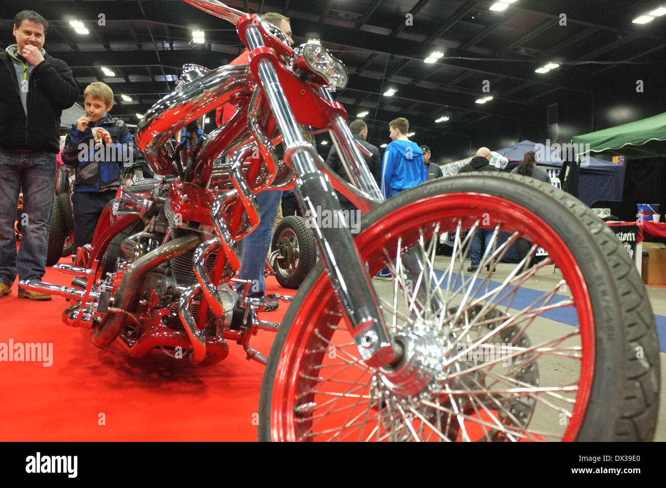 Custom motor bike on display at the MCN Scottish Motorcycle Show. An impressive display of bikes can be seen. - Stock Image