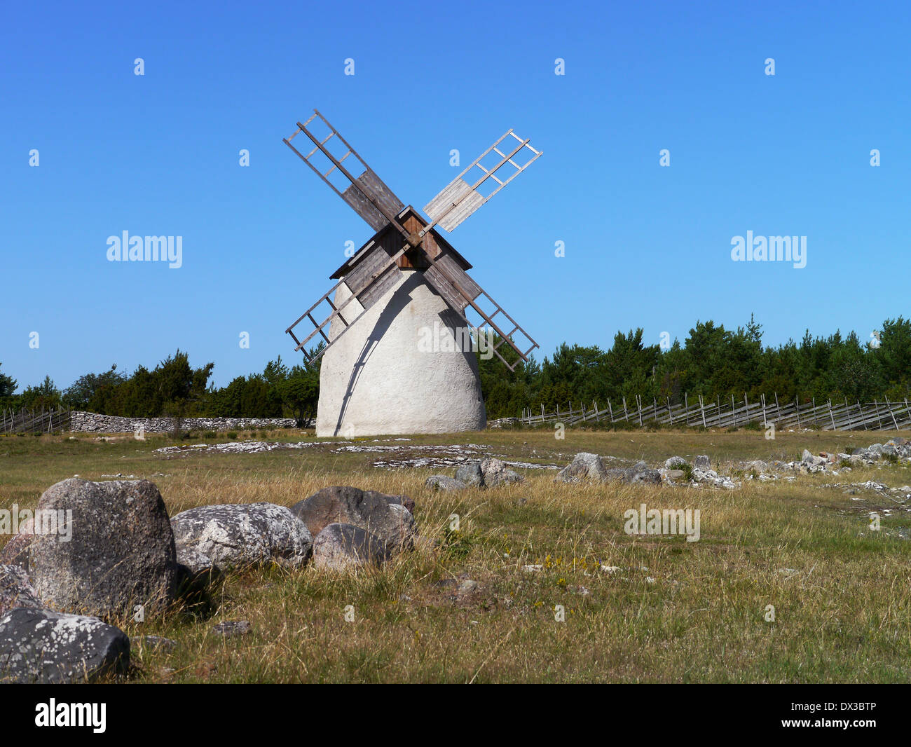 windmill at gotland, gotlands län, sweden - Stock Image