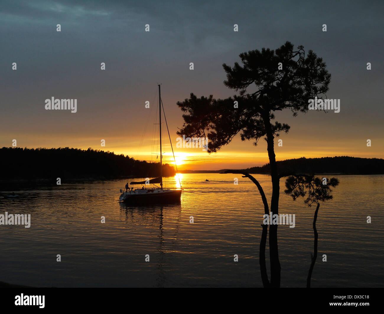 sunset at härsö, stockholm archipelago, stockholms län, sweden - Stock Image
