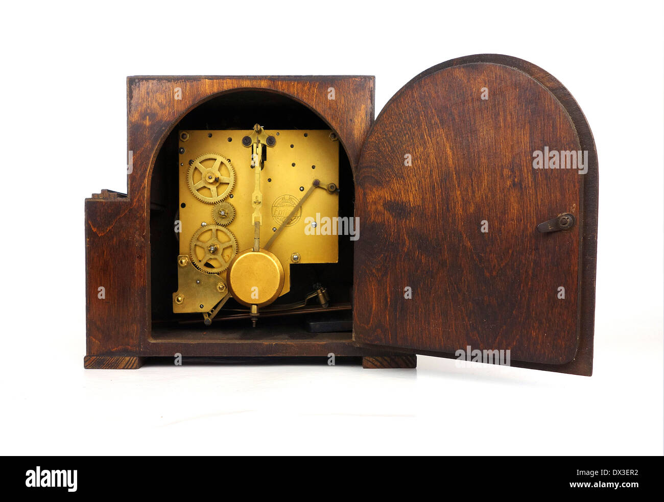 the mechanism of a lever wind clock - Stock Image