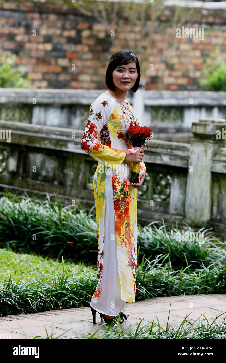 Students graduating from Vietnamese University celebrate at a ceremony held at the Temple of Literature. Hanoi, Vietnam - Stock Image