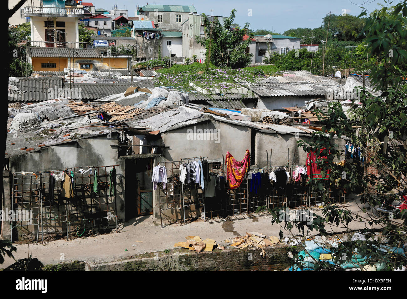 Poor quality housing on the outskirts of Hanoi,Vietnam, South East Asia - Stock Image