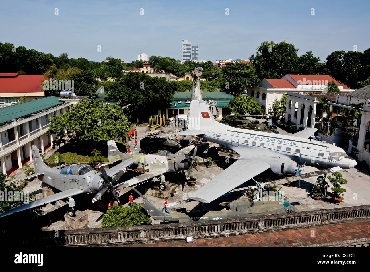 Vietnamese transport plane and captured American planes and helicopter in the Military History Museum, Vietnam, South East Asia - Stock Image