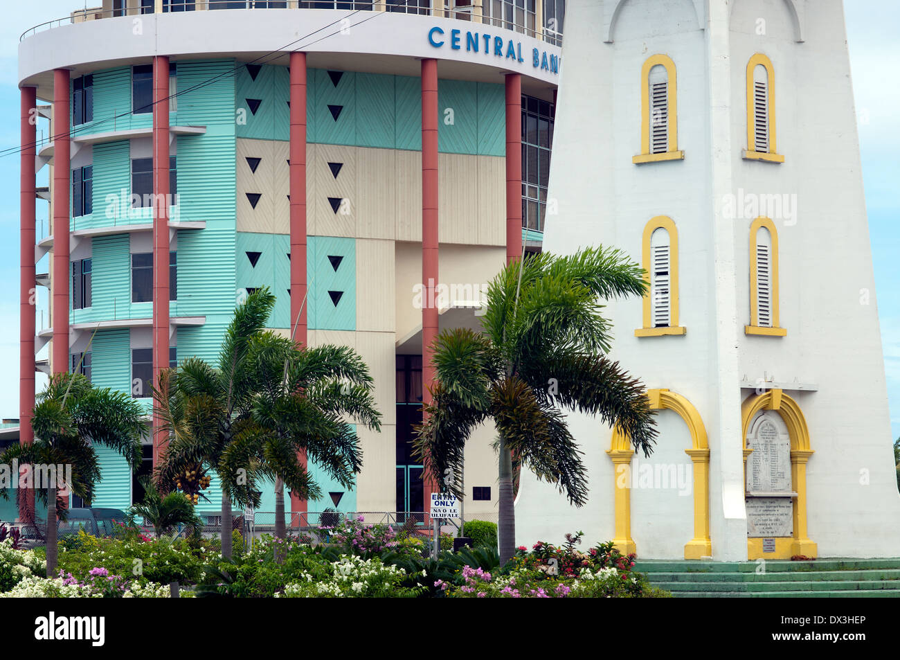 clocktower and Central Bank of Samoa, Apia, Samoa - Stock Image