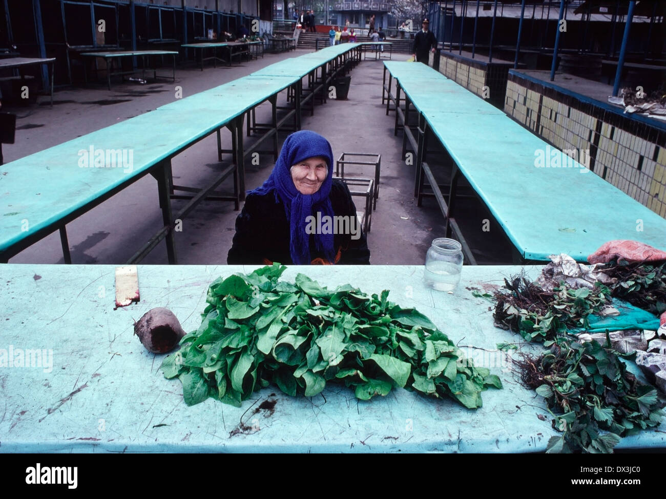 Old woman in market selling produce that she has grown herself in Kiev, the capital of the Soviet Ukraine. - Stock Image