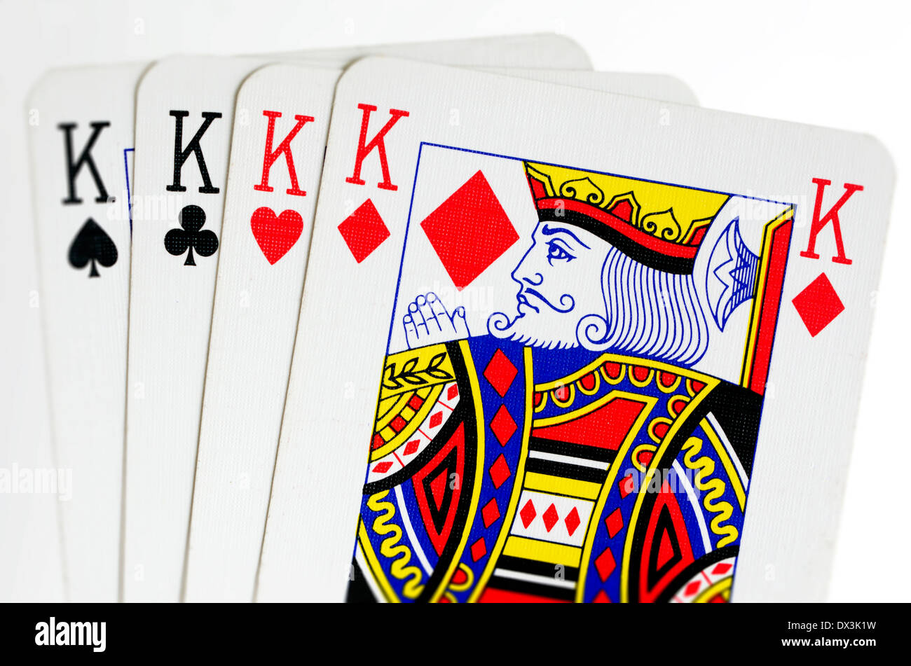 Face cards of four kings playing cards on white background.Concept photo of opportunity, competition, gambling , gamble - Stock Image