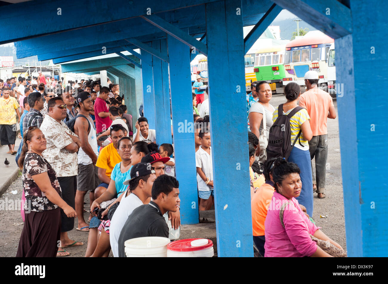 Central Bus Station with waiting passengers, town Center, Apia, Samoa - Stock Image