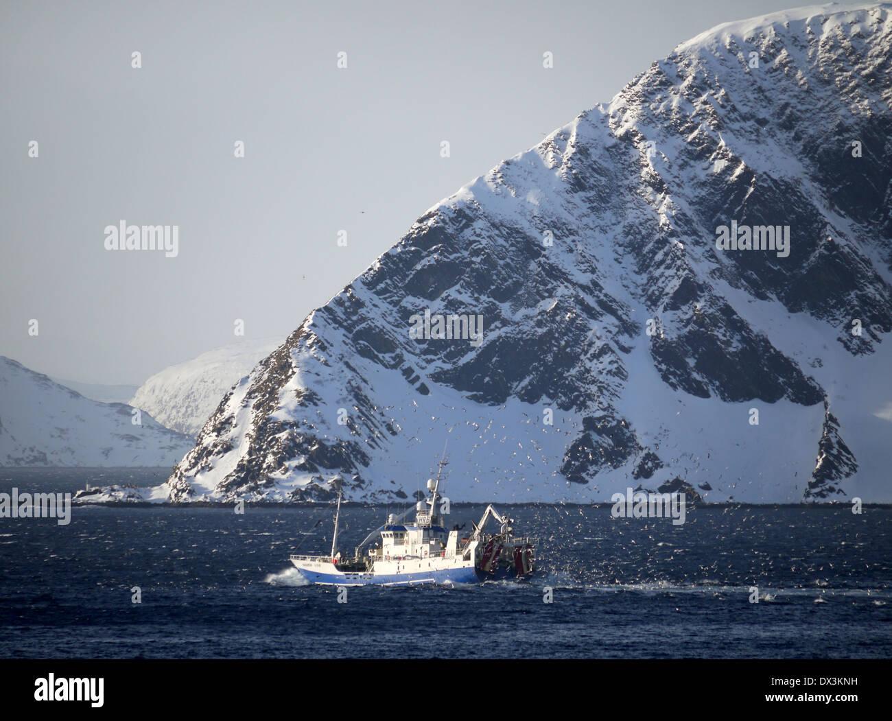 trawler at honningsvåg, magerøya, finnmark, norway - Stock Image