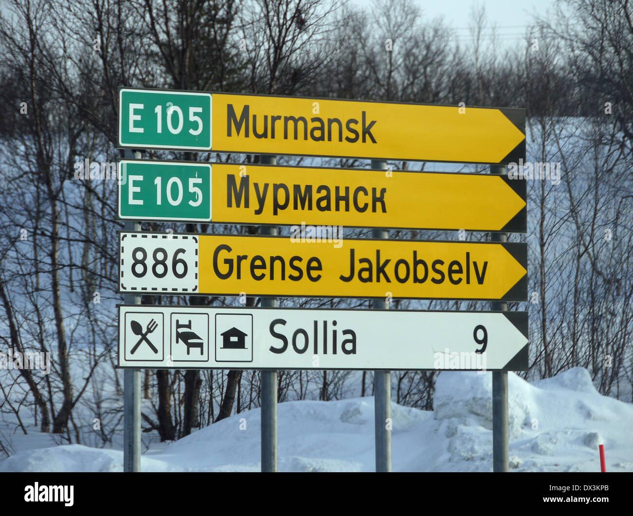 signpost near kirkenes, finnmark, norway - Stock Image
