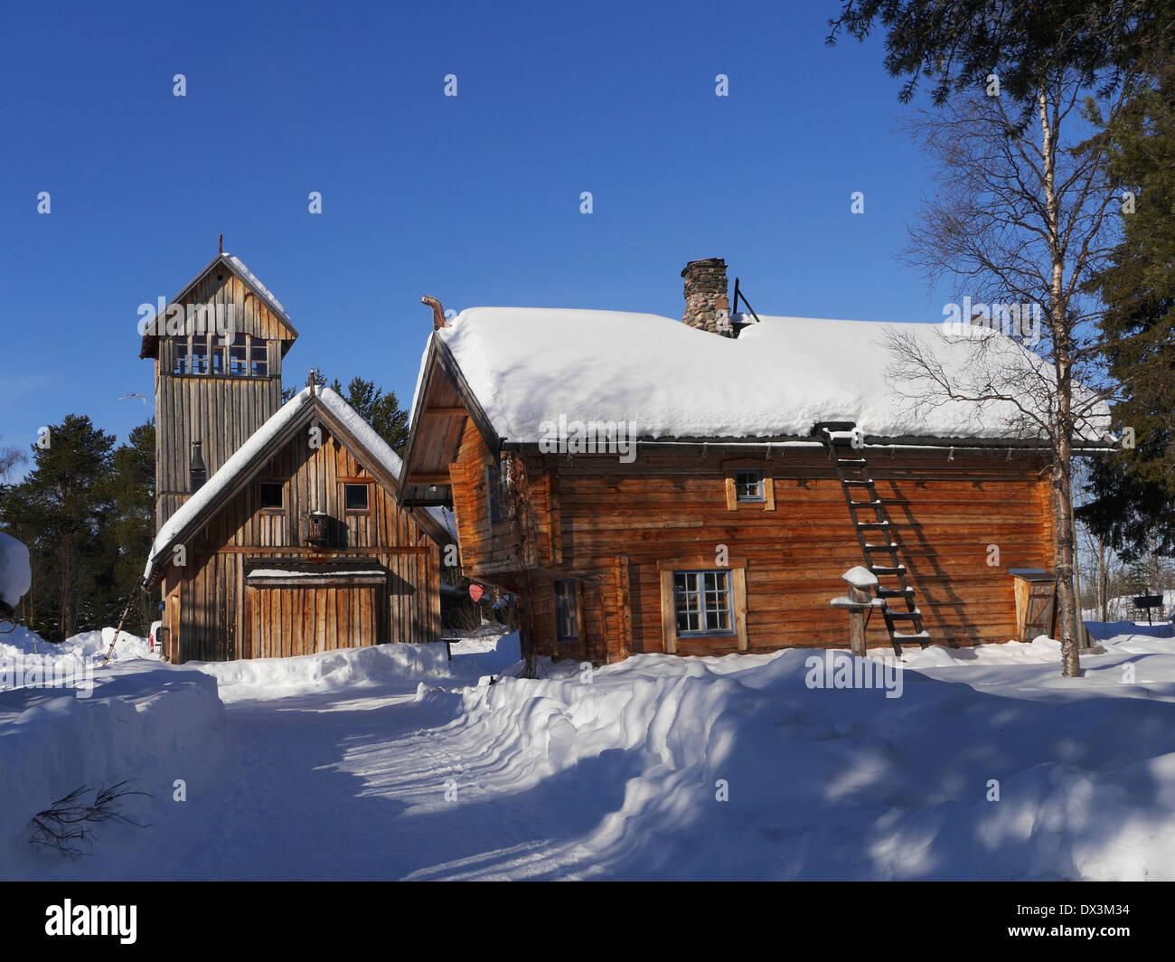 old farm at vittangi, kiruna, norrbottens län, lappland, sweden - Stock Image