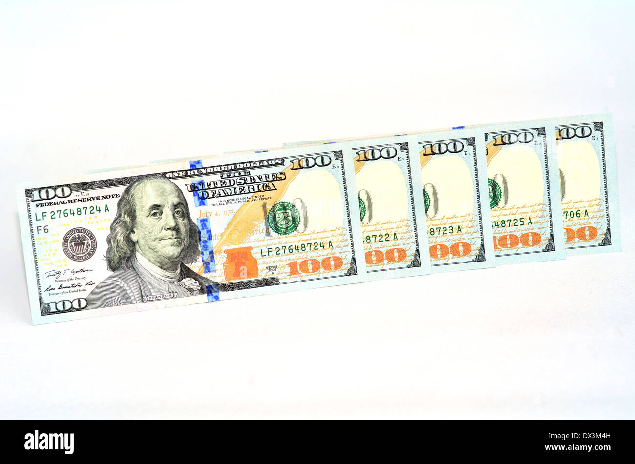 Newly designed U.S. one hundred dollar banknotes. Concept photo of money, banking ,currency and foreign exchange rates. - Stock Image