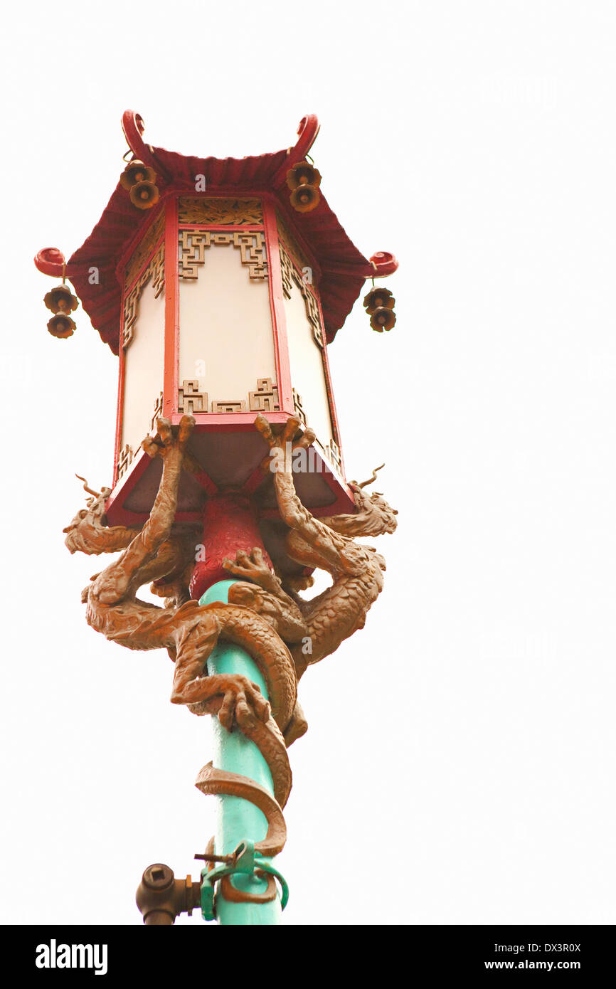 Chinatown ornate Chinese street lamp lantern with dragons, San Francisco, California, United States, low angle view - Stock Image