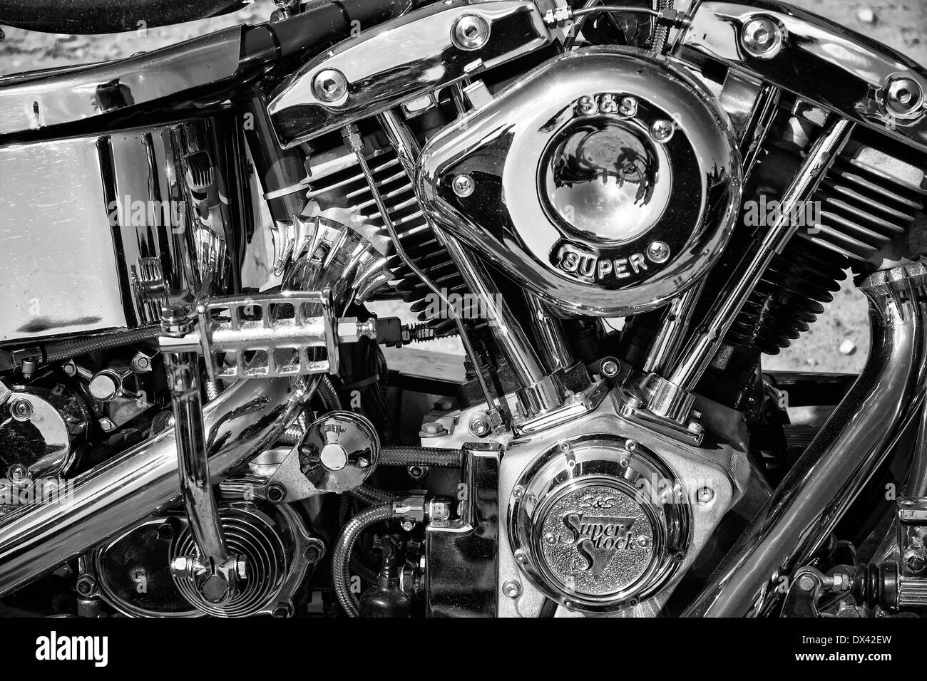 Sell My Motorcycle >> Motorcycle Engine Harley Davidson Custom Chopper, black and white Stock Photo: 67701953 - Alamy