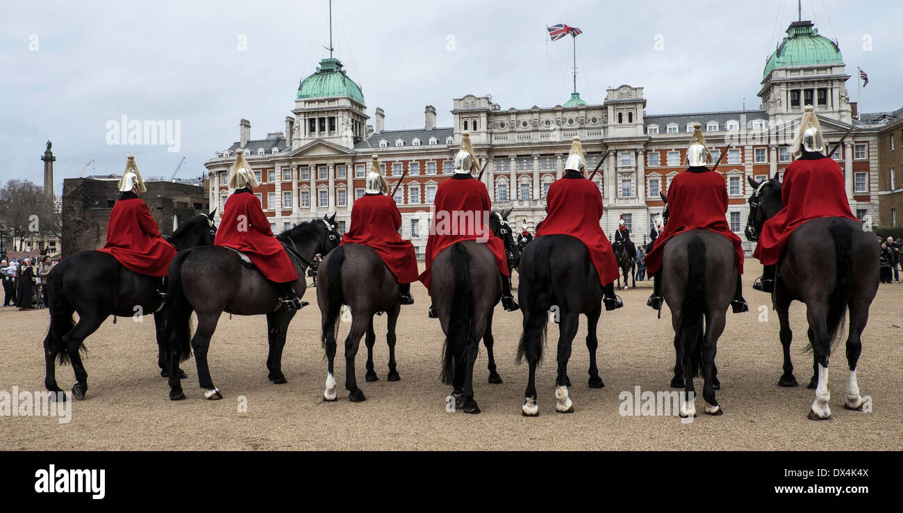 Horseguards on parade in London. - Stock Image