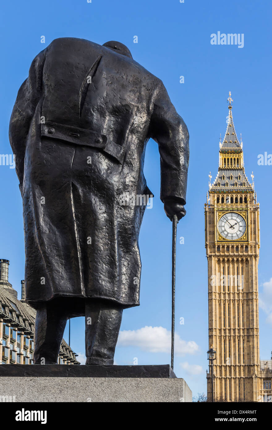Sir Winston Churchill Statue in Parliament Square London with Big Ben - Stock Image