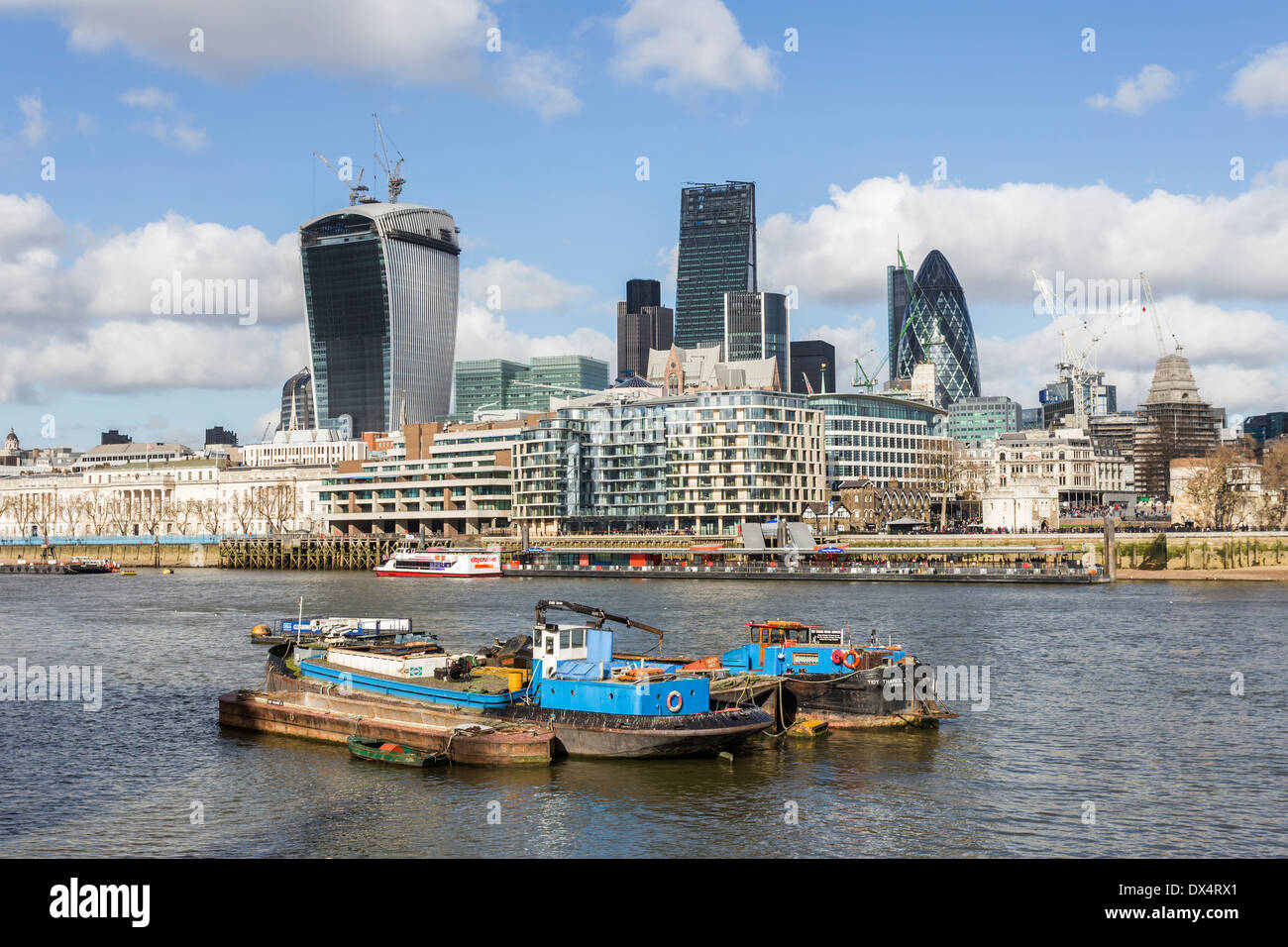 View from South Bank River Thames showing the construction of The Walkie-Talkie and the Cheesegrater - Stock Image