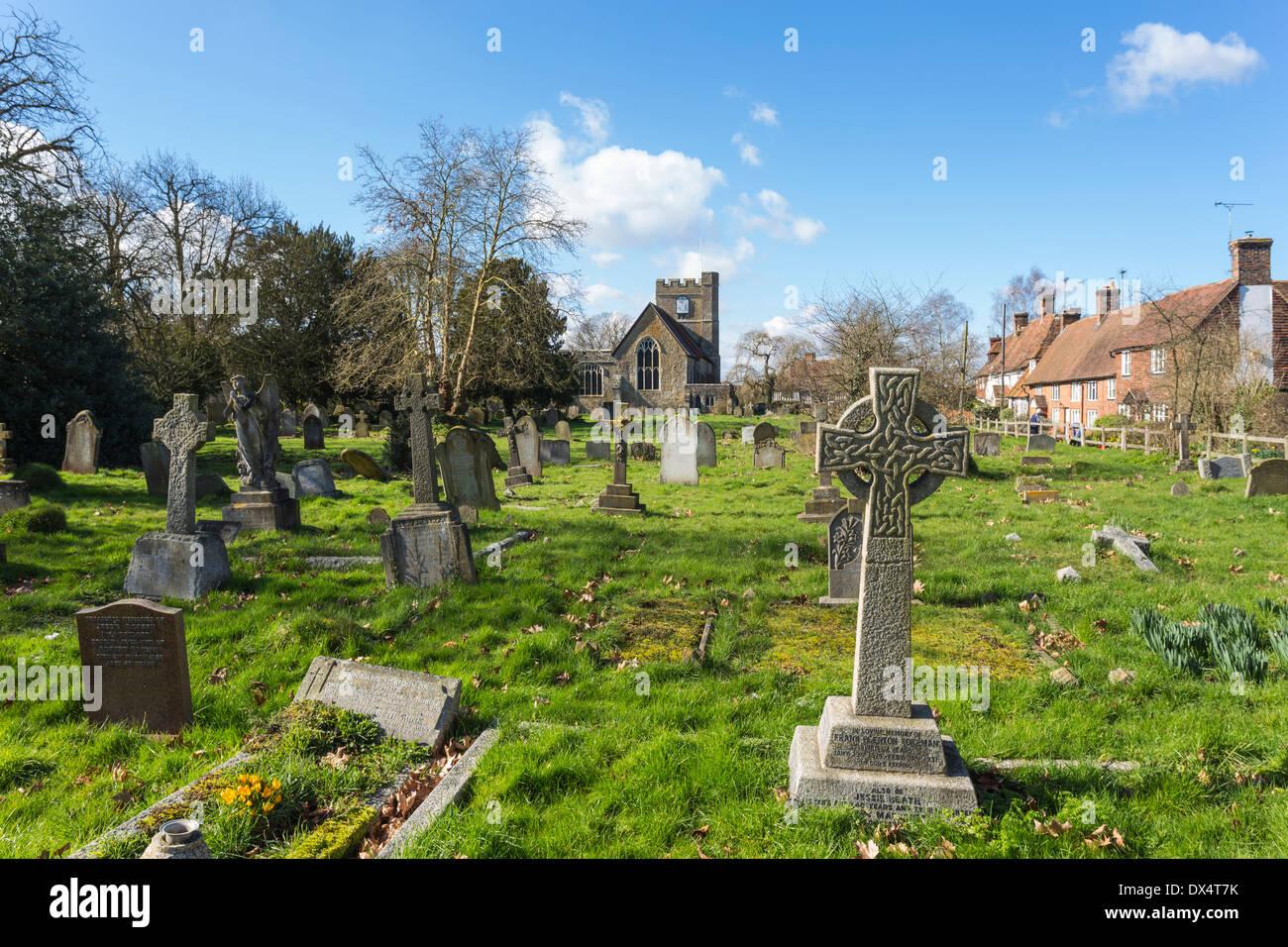 Graveyard at St Peter and St Paul Church Headcorn Kent - Stock Image