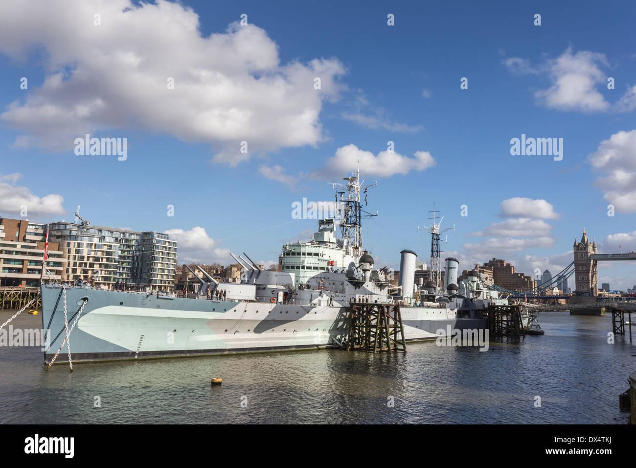 HMS Belfast London River Thames - Stock Image