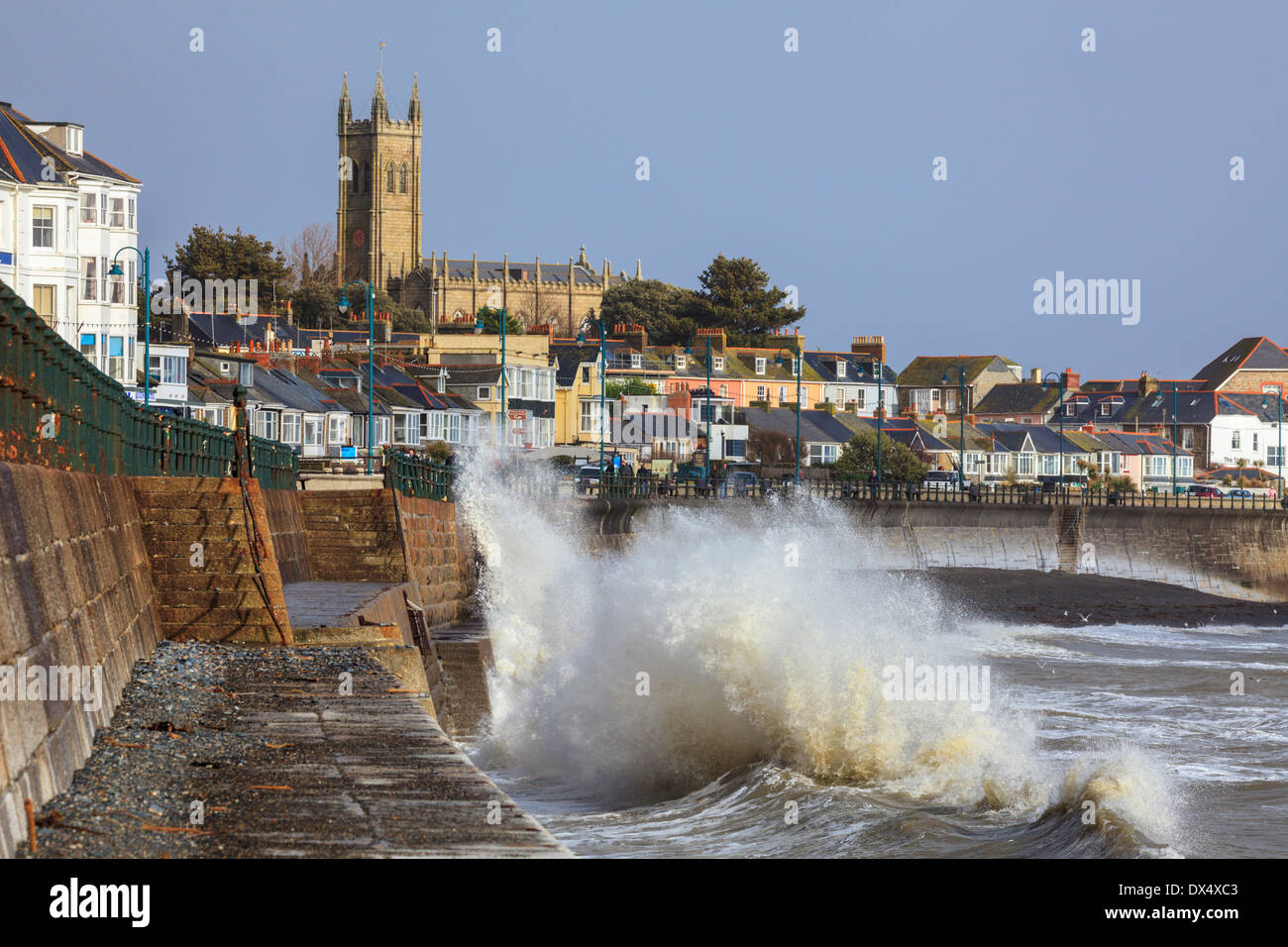 Penzance sea front captured on a stormy winters afternoon - Stock Image