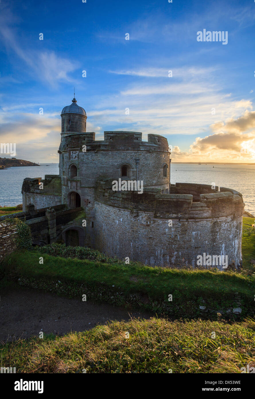 St Mawes Castle captured at sunset - Stock Image