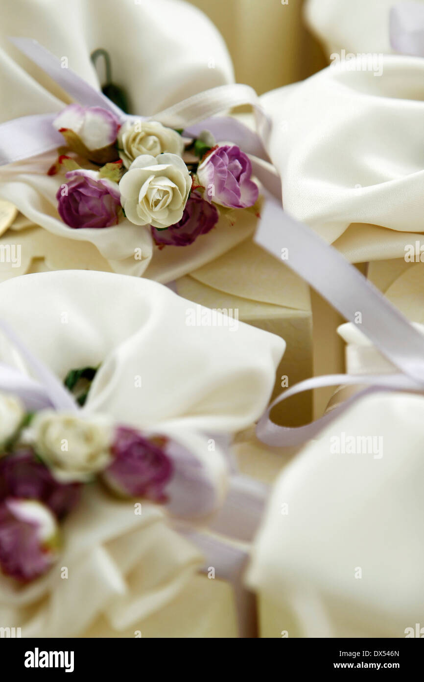 Box of sweets with flowers decoration - Stock Image