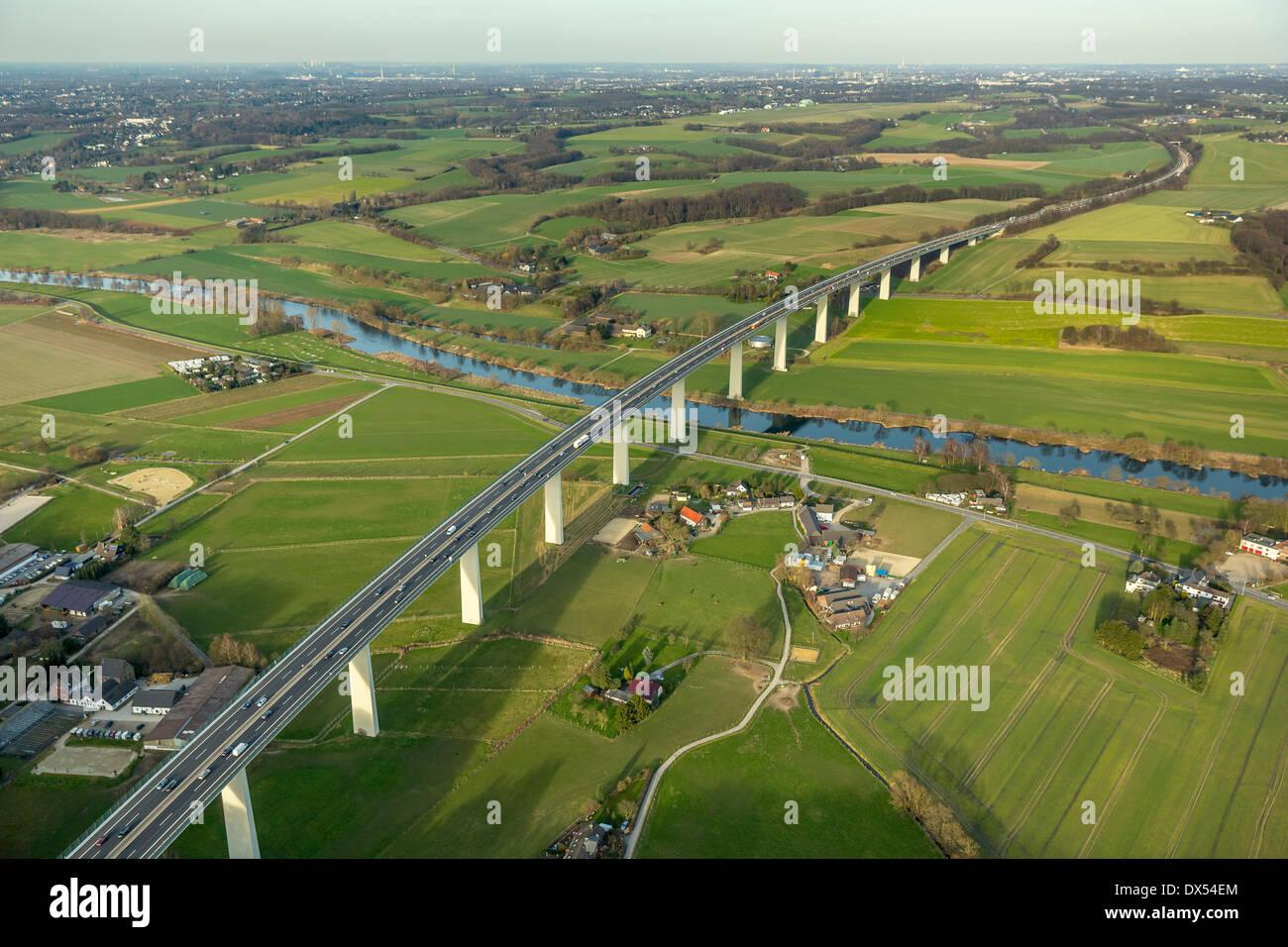 Aerial view, Mintarder Ruhrtalbrücke bridge over the Ruhr valley, Ruhr, motorway A52, Mülheim an der Ruhr, Ruhrgebiet region - Stock Image