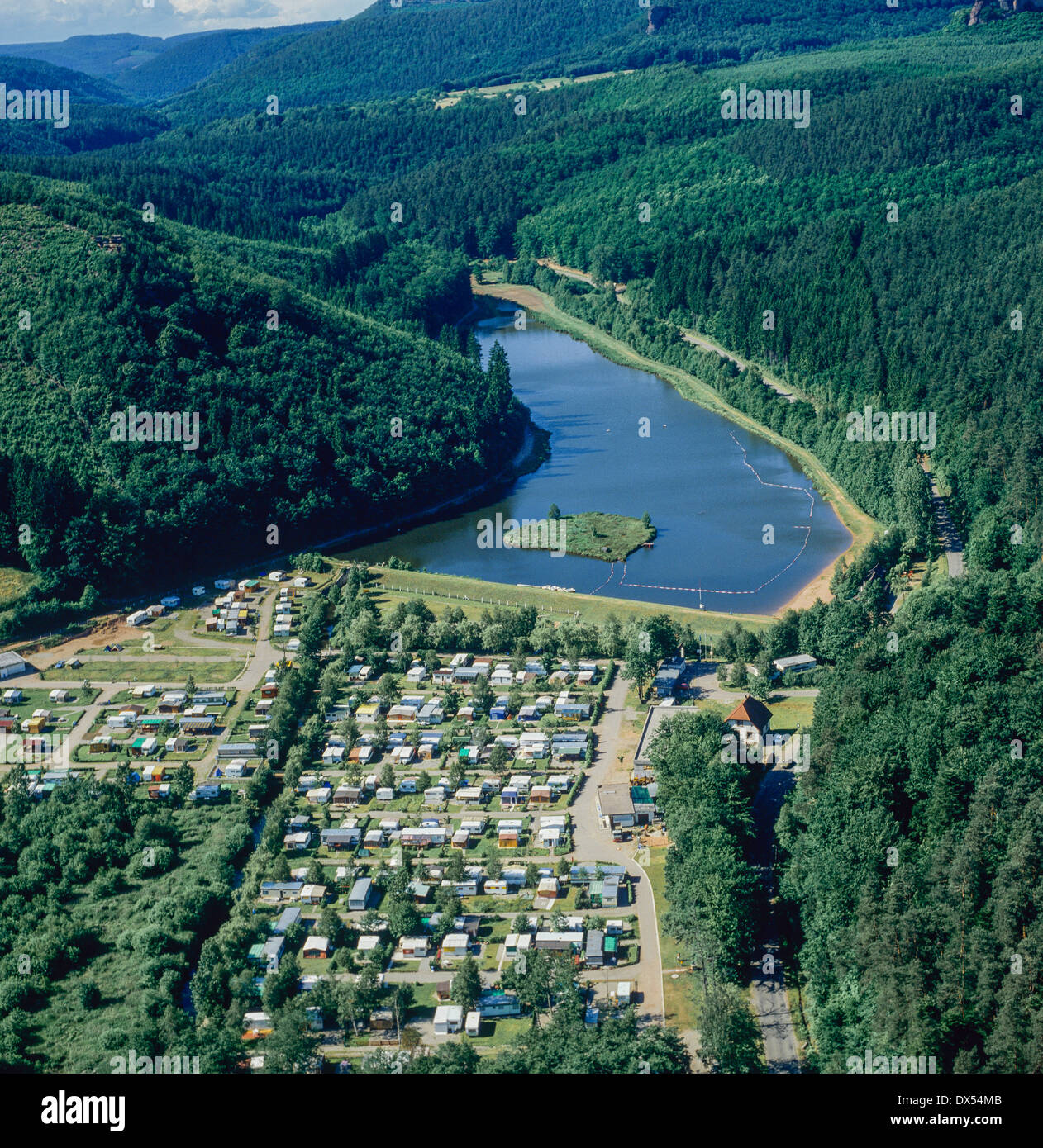 Aerial of Fleckenstein campsite and lake Alsace France - Stock Image
