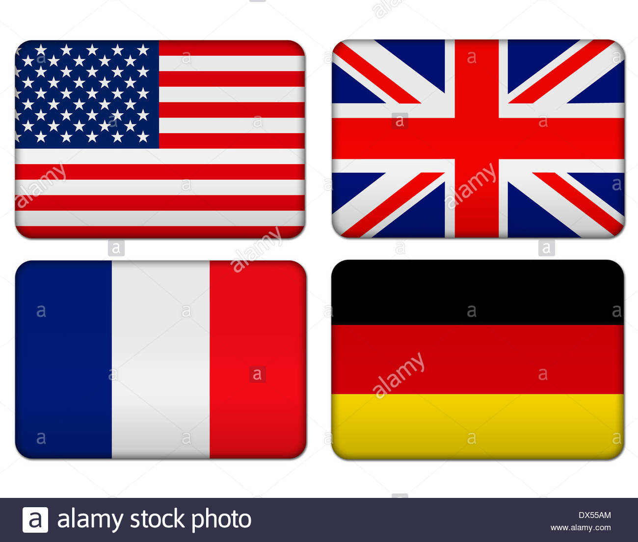 American, United Kingdom, France and Germany flag icon logo banner - Stock Image
