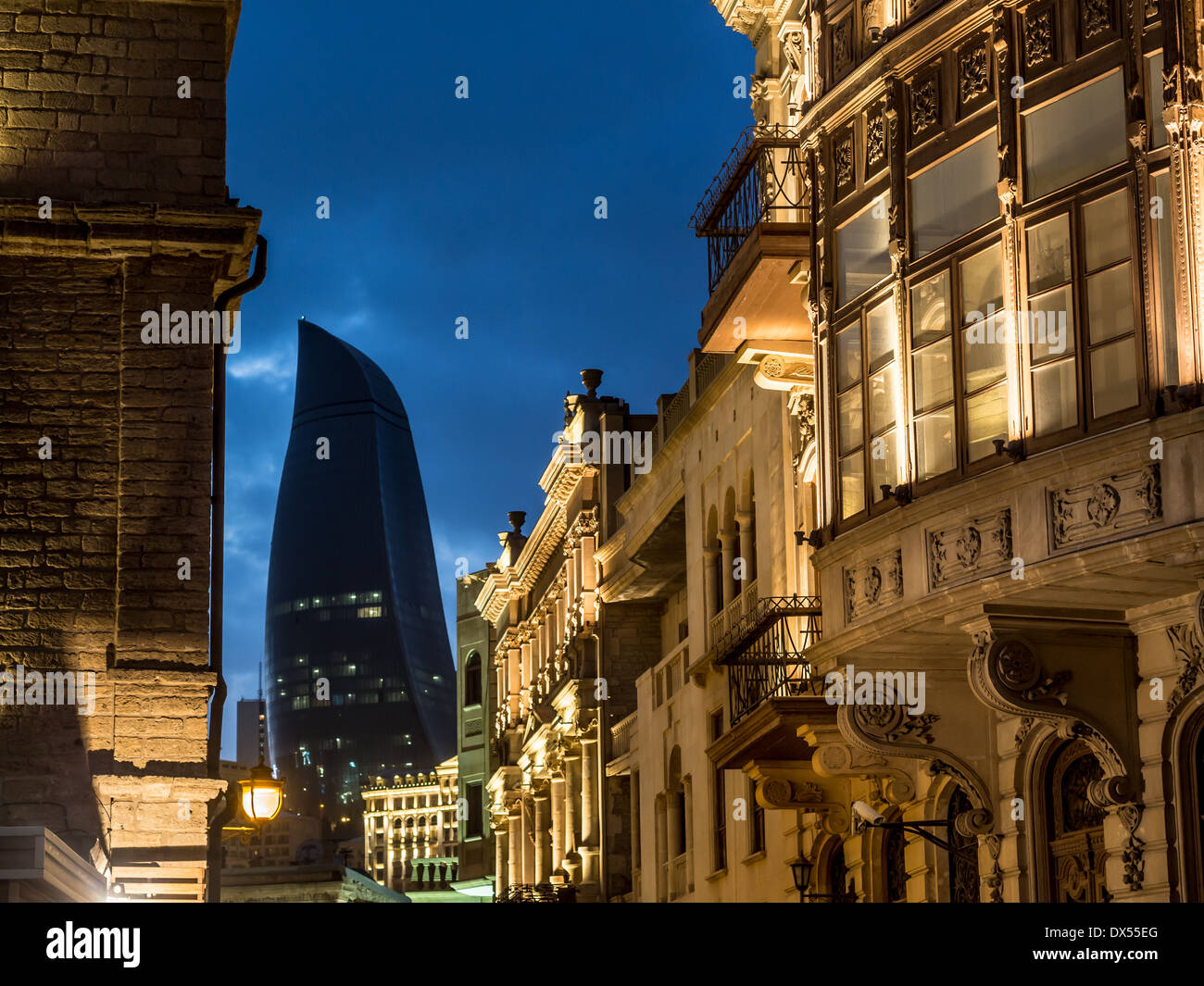 Icheri Sheher (Old Town) of Baku, Azerbaijan, by night. Icheri Sheher is a UNESCO World Heritage Site since 2000. - Stock Image