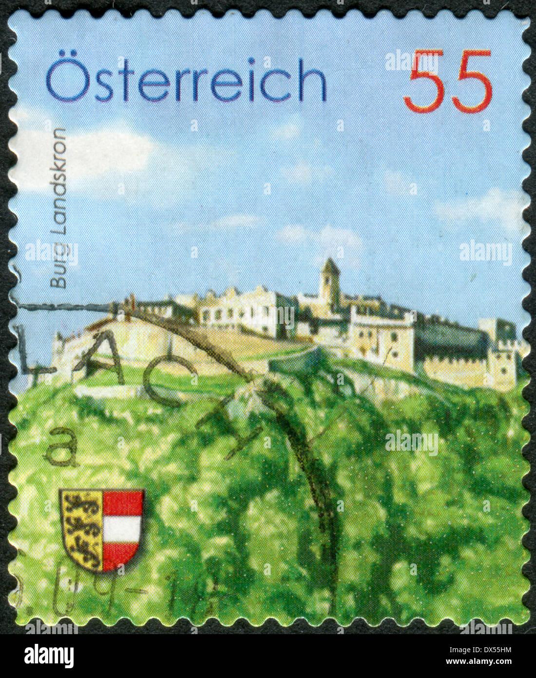 AUSTRIA - CIRCA 2009: Postage stamp printed in Austria, shows Burg Landskron, circa 2009 Stock Photo