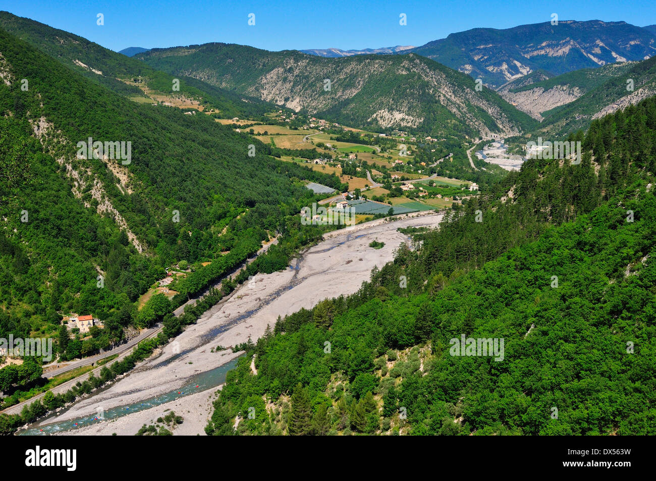 View from the Citadel on the river bed of the Var River, Entrevaux, Départment Alpes-de-Haute-Provence Stock Photo