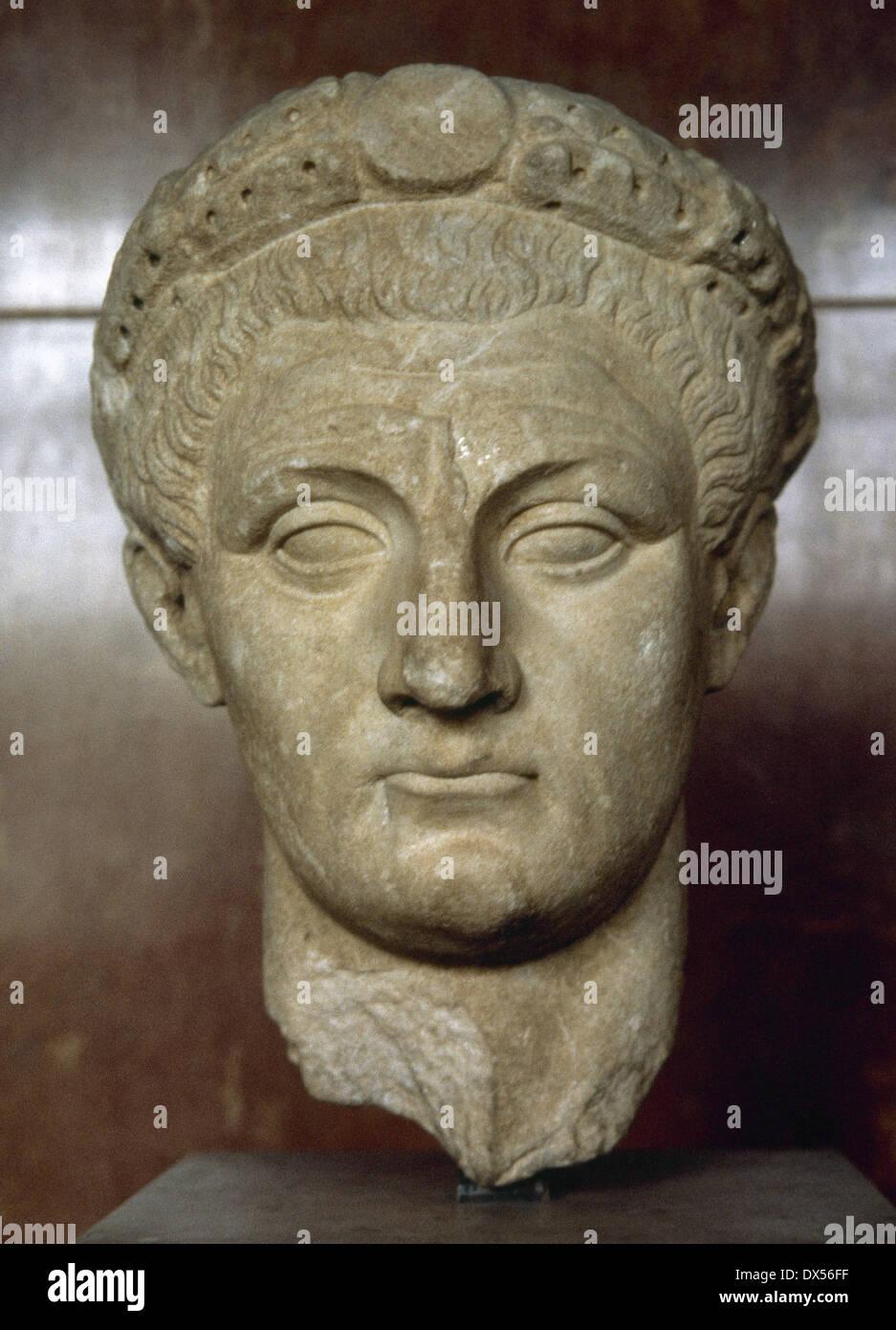 Claudius (10 BC-54 AD). Roman emperor. Julio-Claudia, dynasty. Idealized bust. Marble. From Thassos. Louvre Museum. Paris. - Stock Image