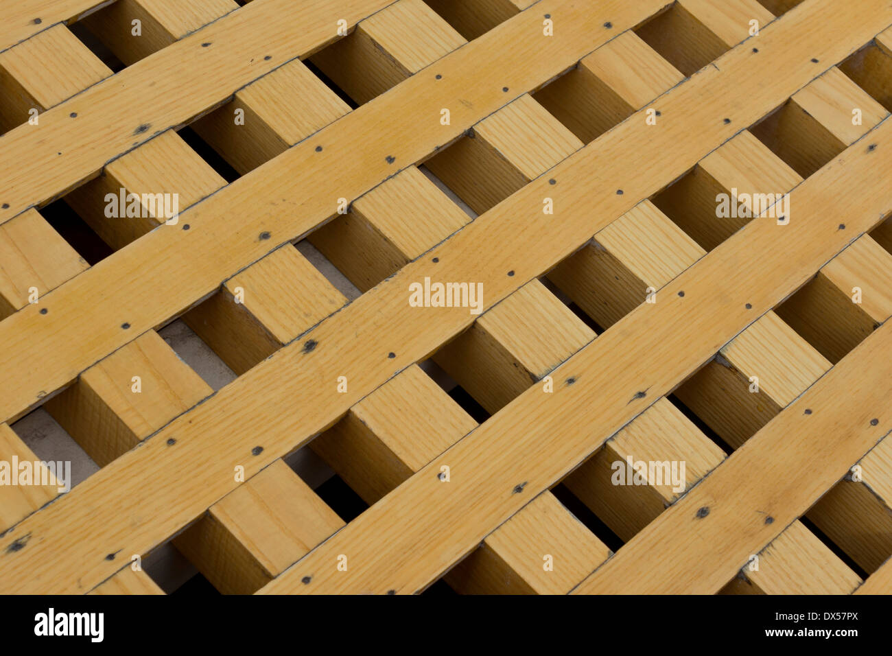 Grid pattern of a wooden hatch cover, on the USS Constitution, in Charlestown harbour, Boston, Massachusetts, USA - Stock Image