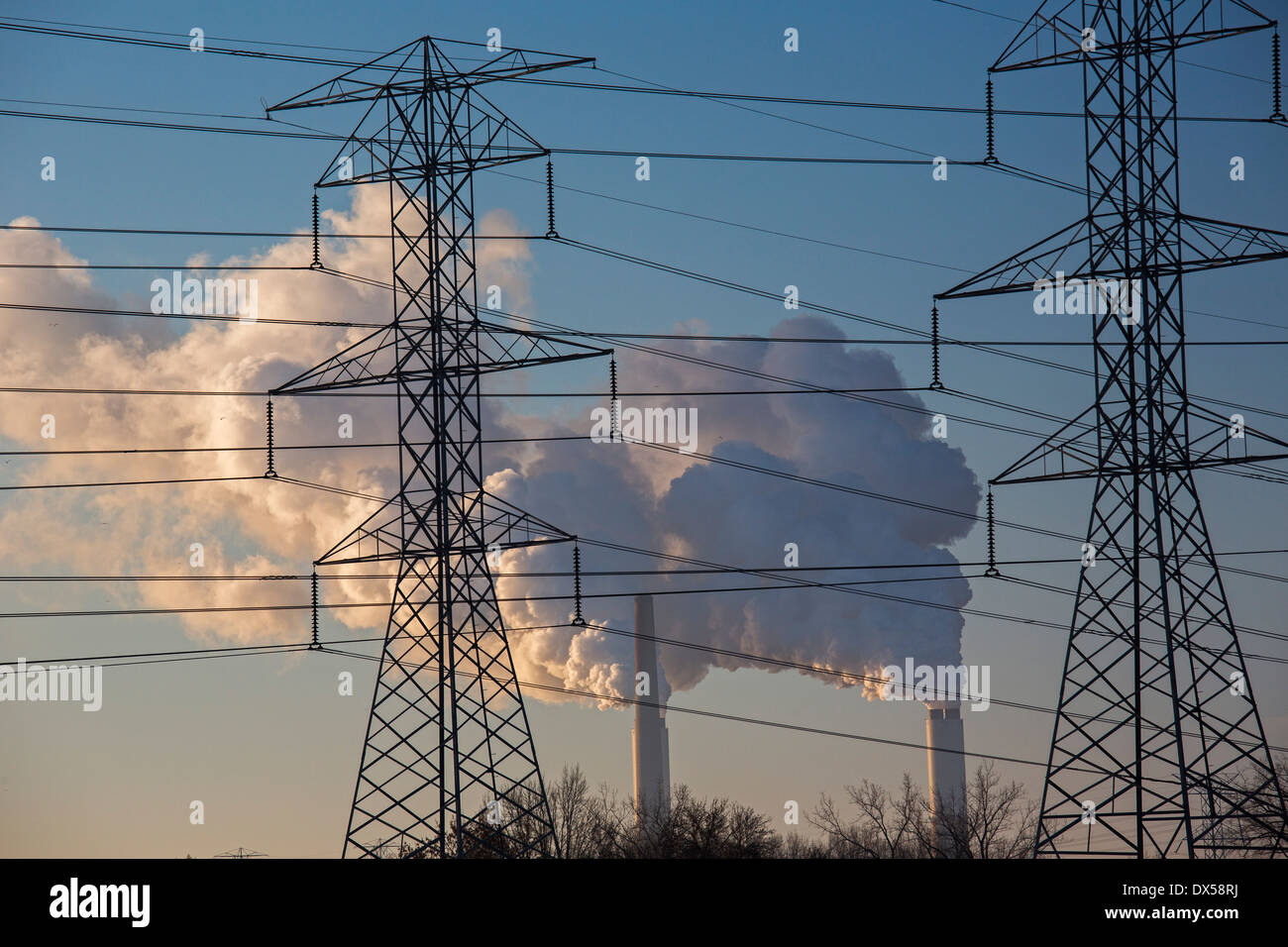 Monroe, Michigan - A DTE Energy coal-fired power plant. - Stock Image