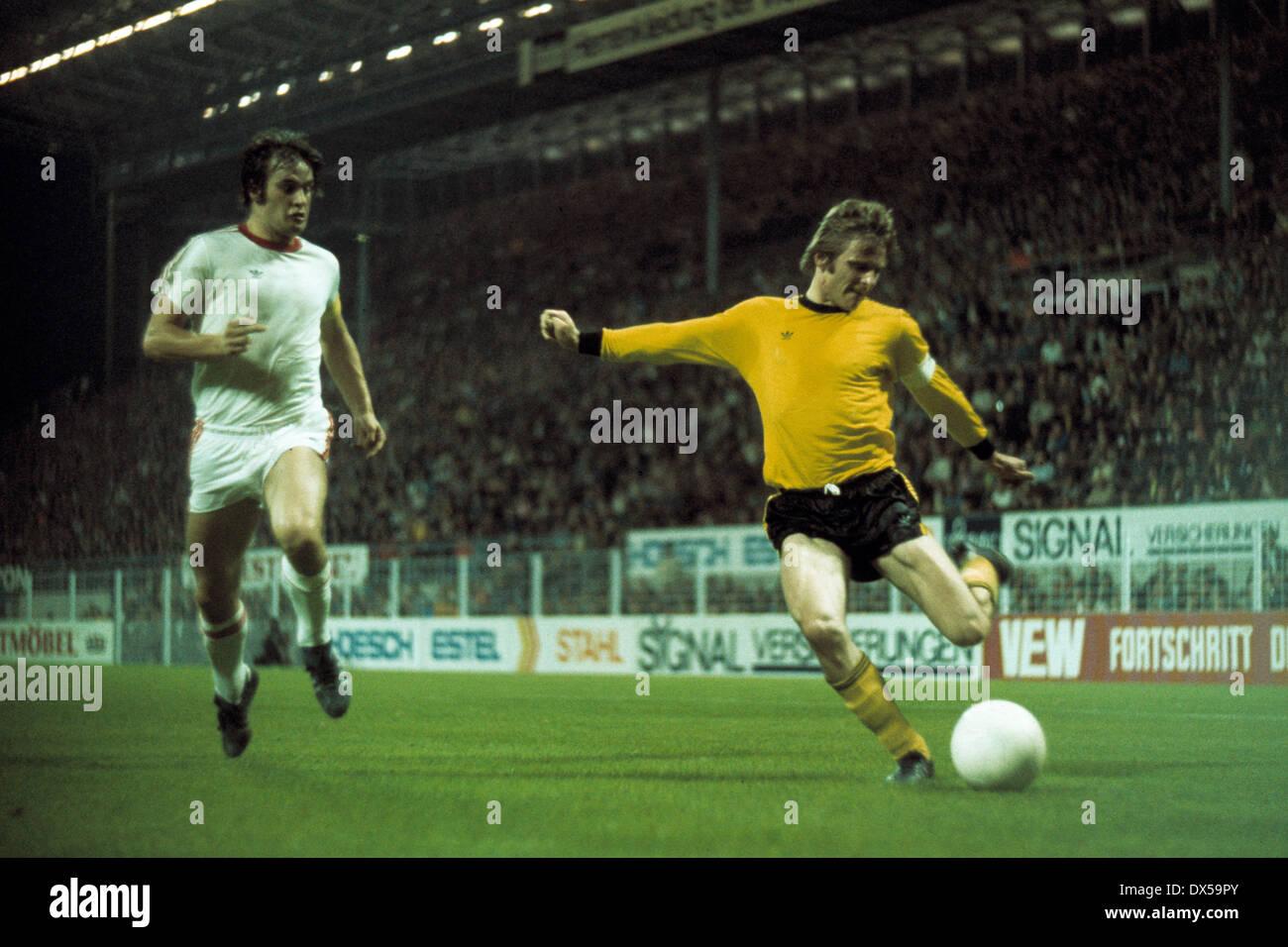 football, 2. Bundesliga Nord, 1974/1975, Westfalen Stadium, Borussia Dortmund versus Rot Weiss Oberhausen 4:0, scene of the match, left Paul Scheermann (RWO), right Klaus Ackermann (BVB) - Stock Image