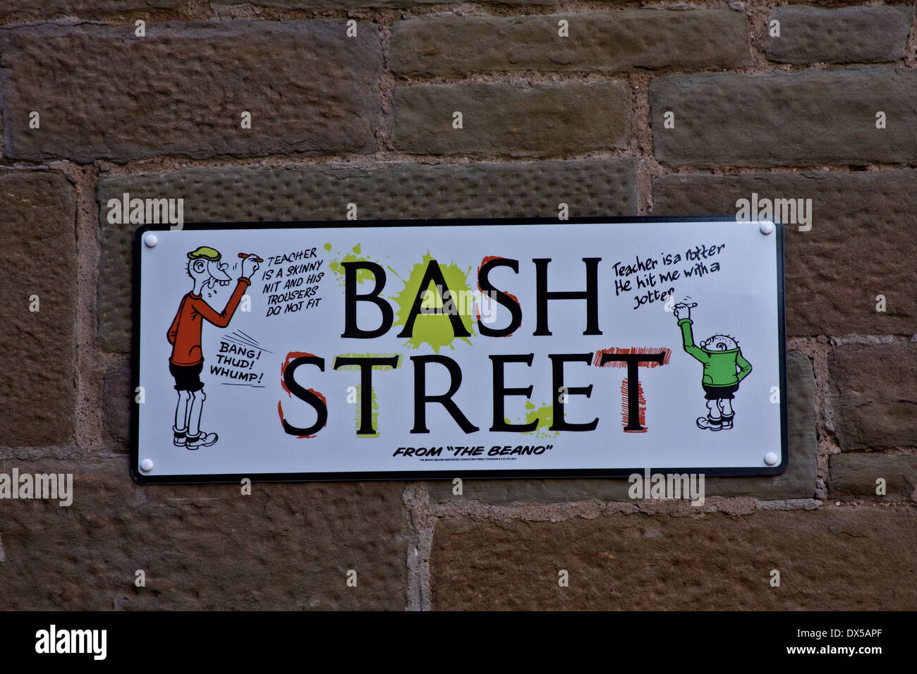 "A road in Dundee has been officially named ""Bash Street"" to mark the 75th anniversary of the Beano comic in Scotland, Stock Photo"